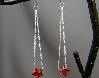 """Red Magma Star Earrings  - Swarovski Red Magma Crystals, Sterling Silver Figaro 3-in-1 Chain  - 3 1/4"""" - Hand Crafted Artisan Jewelry"""