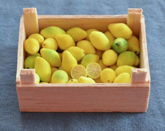 Barbie Sized Food - Playscale Lemons - In Crate - Handmade - Removable