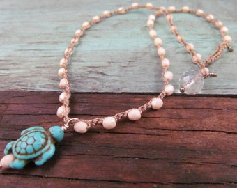 Turtle Necklace, Hippie Beach Chic Beaded Crochet Jewelry, Boho Bohemian Chic, Turquoise, Natural