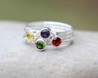 Gemstone Stacking Ring-Sterling Silver Gemstone Stacking Ring CHOOSE Your BIRTHSTONE CRYSTAL-Stacking Ring- stacking rings, stackable rings,