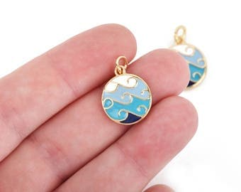 4 BEACH WAVE Charms, Gold Wave Charms, Blue and White Enamel and GOLD plating, gold charms, 22x16mm chs3321