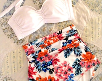 Vintage Extra High Waist Floral Swimsuit - Beautiful Ruche Front Bikini Set - So Flattering! Pick Your Size!