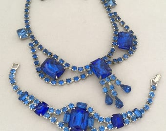 Vintage Statement Jewelry Rhinestone Necklace Set - Blue Rhinestone Necklace - Blue Necklace Bracelet Set - Vintage Blue Collar Necklace