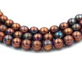 Czech Glass 8mm Luster Opaque Bronze Smoke Round smooth Druk Beads -25