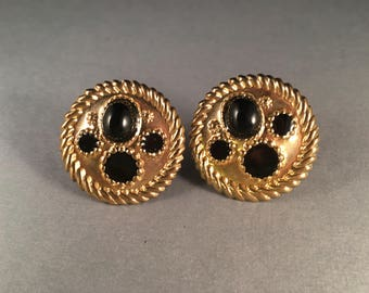 Vintage Gold and Black Clip on Earrings, Large Gold Circle Earrings with Black Accent Beads, 1.5 Inches Round Gold Button Earrings
