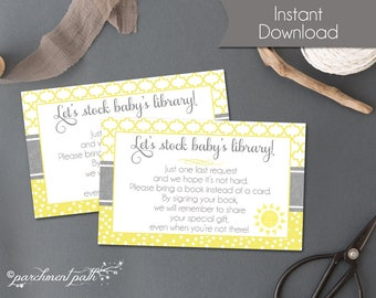 Bring a Book Insert Card - Sunshine Baby Shower - You Are My Sunshine Instant Download - Bring a book instead of a card - Baby's Library