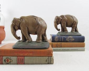 vintage bookends,elephant bookends,cast iron elephants,rustic decor,elephant statue,library decor,office decor,cast iron bookends,circa 1930