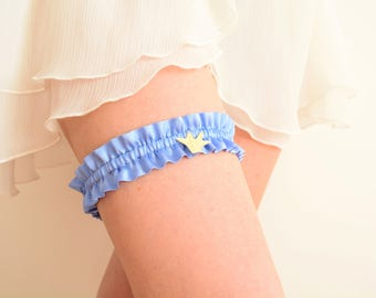 Blue silk bridal garter gold origami crane