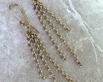 Brass Rolo Chain Earrings