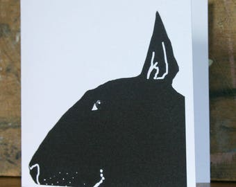 English Bull Terrier Silhouette Card in black and white