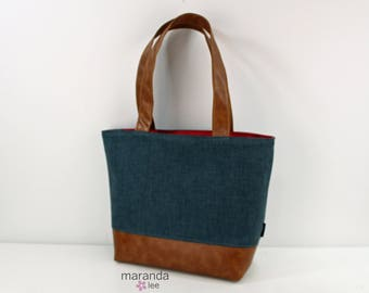 Lulu Large Tote Blue Denim and PU Leather  READY to SHIP -  Diaper Bag 6 pockets Nappy Bag Washable