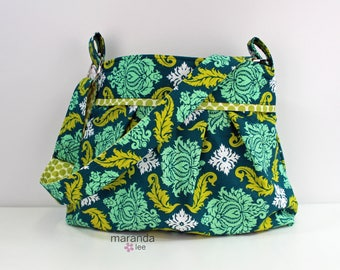 SALE Stella Diaper Bag - Large -Green Damask- READY to SHIP Nappy Bag Baby Gear Attach to Stroller Adjustable Strap