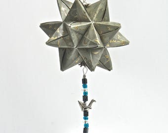 BIRTHDAY Gift Ornament Home Décor Modular 3D Origami Star Ball, HANDMADe in Silver Gray Paper Embossed with Gold on An Ornament Stand OOaK