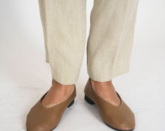 Caramel Leather Glove Shoes