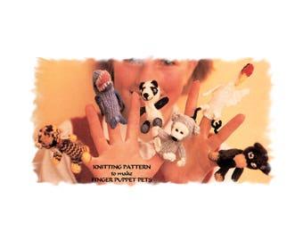Instant Download PDF Knitting Pattern to make Finger Puppets Tiny Toy Wild Animals Monkey Tiger Dolphin Panda Bear Crane Amigurami