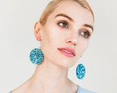 Full Moon Lush Glitter Drops - Each To Own Exclusive - Ice Blue Glitter - Laser Cut Acrylic Earrings