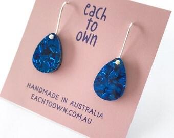 Baby Drop Earrings - Each To Own Original - Electric Blue Cobalt Glitter - Laser Cut Drop Earrings