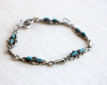 Zuni Turquoise Bracelet Vintage Sterling Silver Chain Size 6 Small Medium Southwestern Boho Jewelry