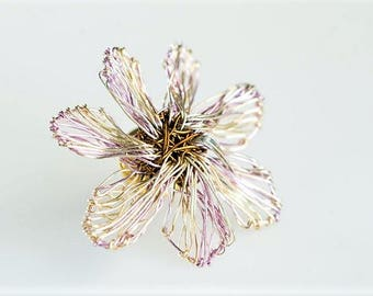 Violet flower brooch pin, solid silver, metal, wire flower jewelry, coat brooch, cute pin, Christmas gift, unique bridesmaid gift, boho chic