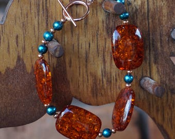 Amber and Teal Pearls with Copper Bracelet
