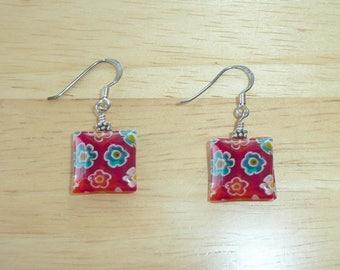 Sterling Silver Earrings Flower Dangles Lucite Hippie Pierced .925