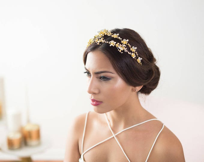 gold bridal headband, flower headband, gold bridal headpiece, gold headpiece, bridal hair piece, gold wedding hair accessories, wedding hair