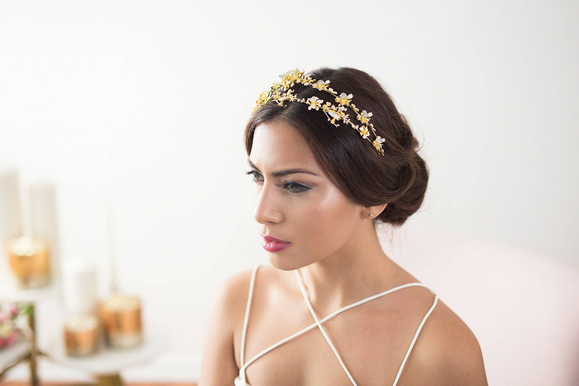 gold bridal headband, flower headband, gold bridal headpiece, gold