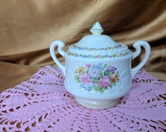 Steubenville ADAM ANTIQUE Sugar Bowl STB5 Floral Border & Center *eb