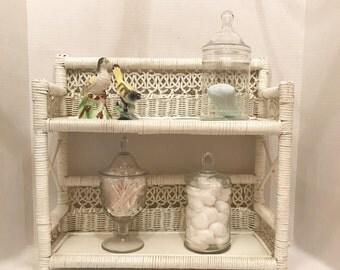 Vintage White Wicker and Wood Wall Shelf or Stand up Shelf, Two Tier Shelf, Bathroom, Bedroom or Nursery Shelf