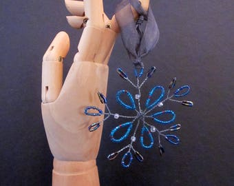 Beaded Snowflake Tree Ornament, Set of 3, Limited Edition. Holiday Decor