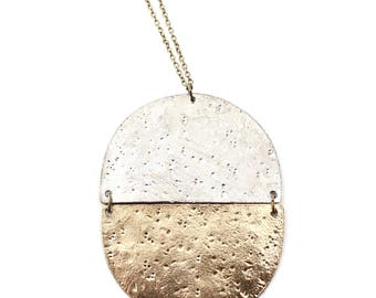 Lunar -- silver and gold circle pendant, two-tone, color block, minimalist, minimal, everyday, boho classic gift for her under 50