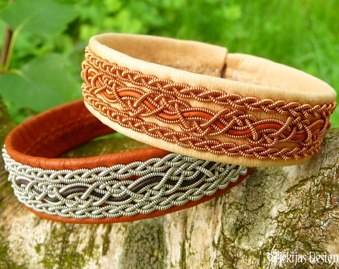 Swedish Viking Bracelet Cuff NIDHOGG Sami Bracelet in Natural Leather with Copper Braids and Rosewood Leather Cord Handmade Norse Elegance