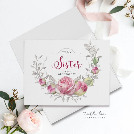 Folded Note Card - For My Sister, Pink Roses
