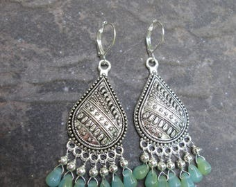 Boho style Chandelier earrings with Aquamarine Blue and Lime Green teardrop beads and Sterling Silver ear hooks