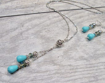 Long Turquoise Tassel Necklace and Earrings set with Filigree Beads and sparkly Crystals Boho Chic Necklace and Earrings set 32 inch chain