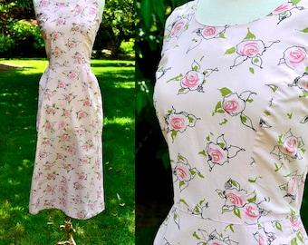 1940s Pink Floral Cotton Day Dress / Cotton Rose Print Vintage Dress / Size 8