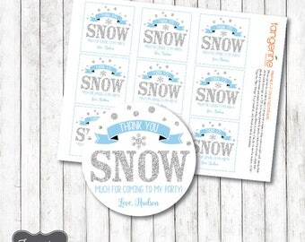 Favor Tags Winter ONEderland Boy , Winter Wonderland Thank You Tags, Blue and Silver, Square or Circle, Personalized, Printable PDF File