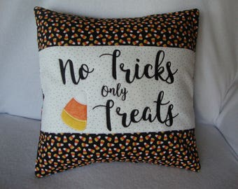 Halloween No Tricks Only Treats Candy Corn Throw Pillow Cover Machine Embroidered 18 By 18 Size Grannie Embroidery