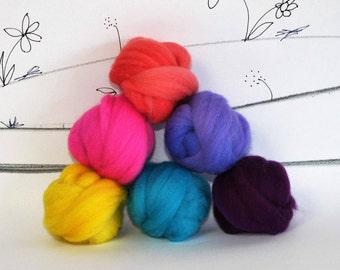 Wooly Buns wool roving assortment, 6 piece hand dyed fiber, needle felting supplies in Highlighter, 1.5 oz bright assortment