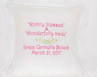 Richly Blessed White Monogrammed Linen Hemstitch Pillow