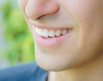 Men's Fake Lip Ring, Lip Ring Gift for Men Faux Lip Piercing, Clip on Lip Ring, Colored Lip Cuff, No Piercing Lip Ring, Tiny Faux Hoop, Snug
