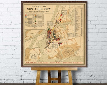 New  York City  map - Industrial map  of NYC - Industrial New York  City map  art