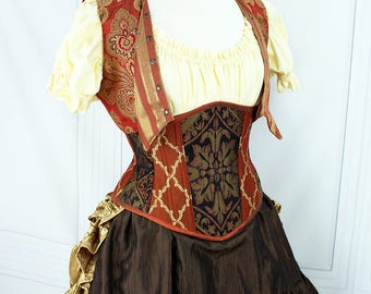 Steampunk Lily Jacket -- Russet and Gold Damask & Stripes -- Custom Made