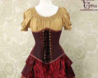"""Steampunk Plum, Teal, & Gold Patchwork Underbust Corset - Front Lacings - Corset Size 26, Best Fits Waist 29.5-31"""" - Ready to Ship"""