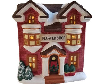 Christmas Village House - Miniature flower shop, lighted house figurine, Victorian Christmas village, gift for gardener, gift for mom,