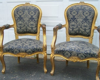 vintage chairs,luis xv style gilted chairs,pair Vintage victorian Style chairs, arm chairs, french style chairs,pretty floral classic Chairs
