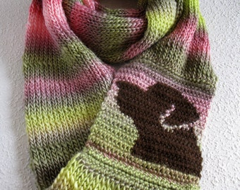 Labrador Retriever Scarf. Pink and green stripe, knit infinity scarf with a chocolate Lab dog. Knitted dog scarf