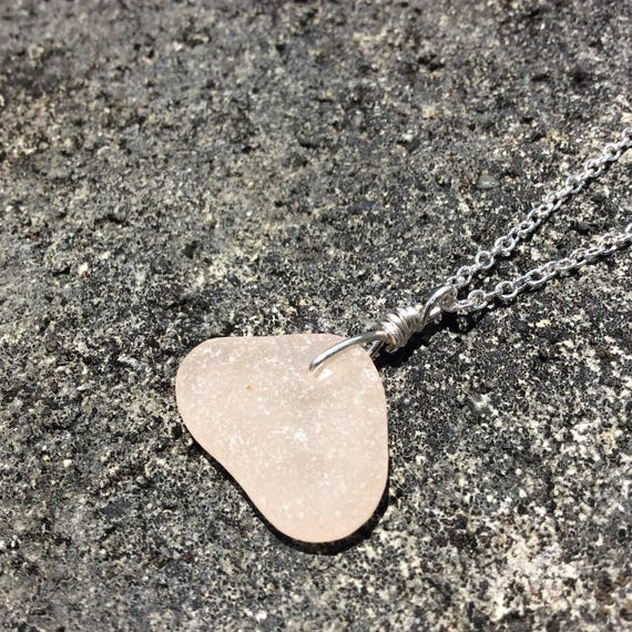 RARE Pink Surf Tumbled Sea Glass, Sterling Silver Chain Necklace