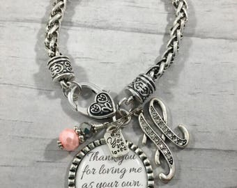 Gift for StepMOTHER. StepMom of the Bride. Christmas Gift. Gift from StepSon. MOTHERS Day Gift. Gift from StepDaughter. BRACELET. Initial