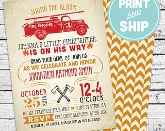 Printed Firefighter Baby Shower Invitations and Envelopes - Print and Ship Invitations